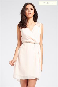Uttam Boutique Crochet Trim Party Dress