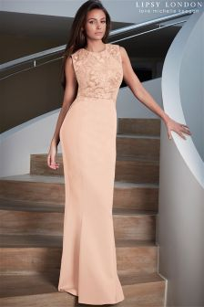 Lipsy Love Michelle Keegan Nude Sequin Maxi Dress
