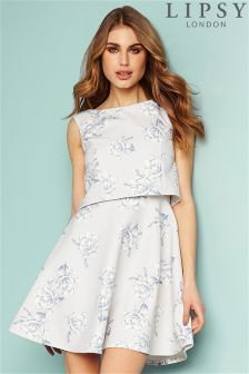 Lipsy Satin Floral Skater Dress
