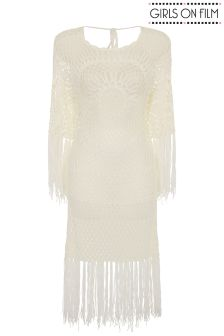 Girls On Film Fringed Crochet Dress