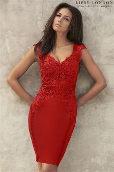 Lipsy Love Michelle Keegan Applique Front Bodycon Dress