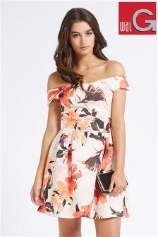 Wal G Off The Shoulder Print Dress