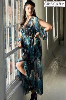 Girls On Film Curve Print Maxi Dress