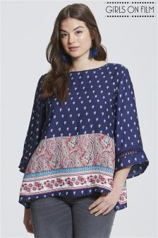 Girls On Film Curve Paisley Print Blouse