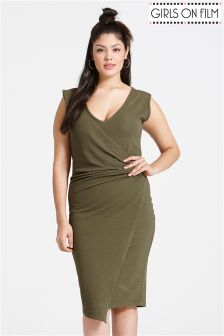 Girls On Film Curve Drape Dress