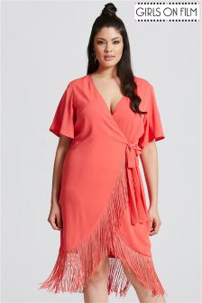 Girls On Film Tassel Wrap Dress