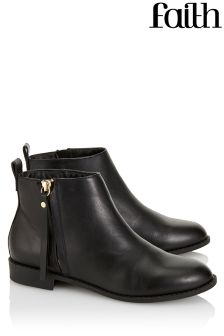 Faith Shoes Side Zip Flat Ankle Boots
