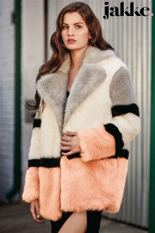 Jakke Colour Block Faux Fur Coat