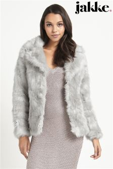 Jakke Luxe Faux Fur Short Collar Rever Coat
