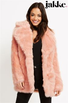 Jakke Luxe Faux Fur Mid Length Coat