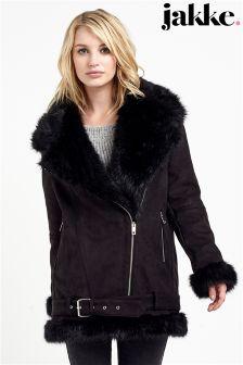 Jakke Oversized Faux Fur Collar Suedette Biker