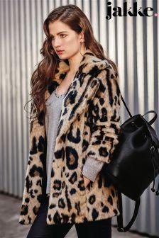 Jakke Luxe Faux Fur Leopard Coat
