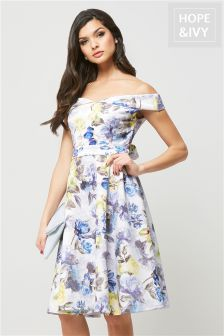 Hope & Ivy Floral Bardot Skater Dress
