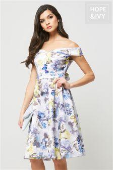 Hope & Ivy Floral Bardot Skater Dress