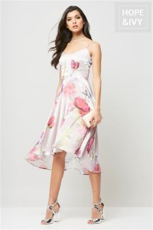 Hope & Ivy Floral Soft Drape Cami Dress