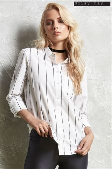 Noisy May Pin Stripe Long Sleeve Shirt