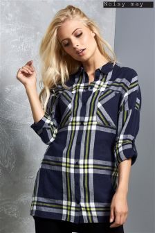 Noisy May Long Sleeve Oversize Check Shirt