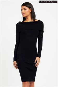 Noisy May Ribbed Knit Off Shoulder Dress