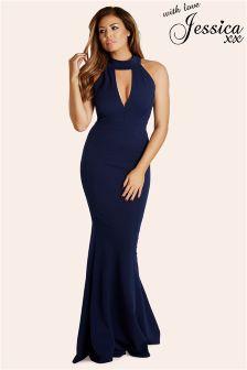 Jessica Wright Choker Collar Maxi Dress