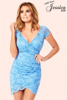 Jessica Wright Wrap Lace Dress