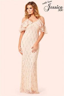 Jessica Wright Cold Shoulder Sequin Lace Maxi Dress