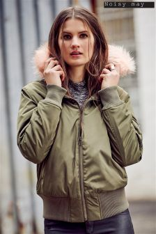 Noisy May Contrast Faux Fur Hood Bomber Jacket