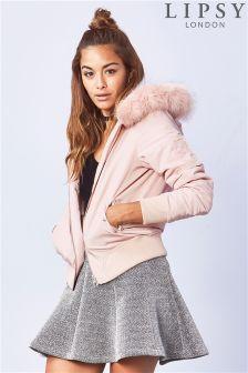 Lipsy Pink Faux Fur Trim Bomber Jacket