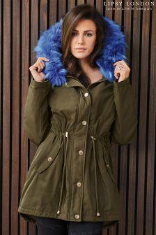 Lipsy Love Michelle Keegan Contrast Faux Fur Parka
