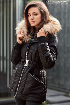 Lipsy Love Michelle Keegan Belted Bomber Puffer