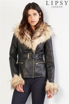 Lipsy Faux Leather Fur Cuff Biker Jacket