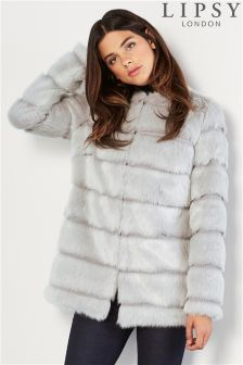 Lipsy High Low Faux Fur Coat