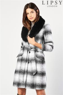 Lipsy Check Belted Wool Coat