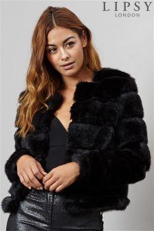 Lipsy Hi Low Faux Fur Short Coat