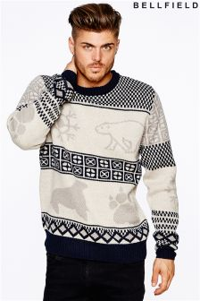 Bellfield Mens Polar Animal Jacquard Jumper