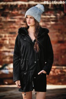 Religion Faux Fur Hooded Parka Coat