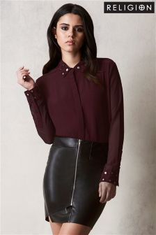 Religion Embellished Collar Shirt