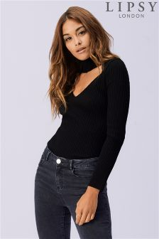 Lipsy Knitted Cut Out Choker Jumper