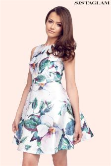 Sistaglam Floral Sateen Skater Prom Dress