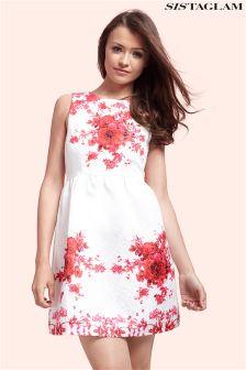 Sistaglam Textured Floral Print Prom Dress