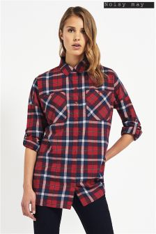 Noisy May Long Sleeve Check Oversized Shirt