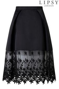 Lipsy Floral Lace Hem Peplum Skirt