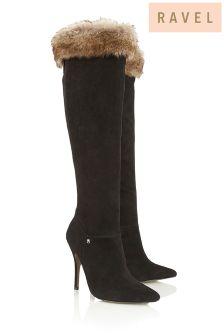 Ravel Faux Fur Trim Heeled Boots