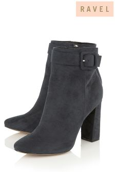 Ravel Buckle Block Heel Ankle Boot