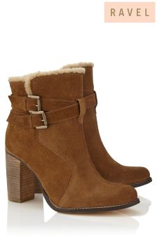 Ravel Shearling Trim Block Heel Ankle Boot