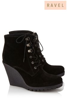 Ravel Wedge Lace Up Ankle Boot