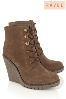 Ravel Wedge Lace Up Ankle Boots