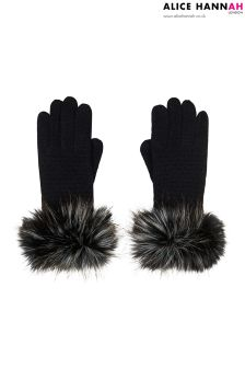 Alice Hannah Faux Fur Trim Gloves