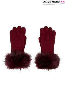 Alice Hannah Faux Fur Trim Gloves