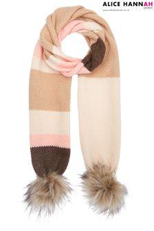 Alice Hannah Moss Stitch Fur Trim Scarf