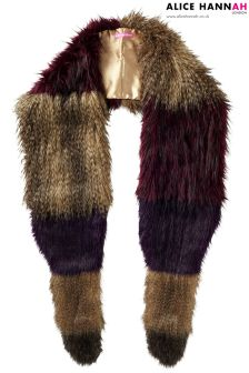 Alice Hannah Colour Block Long Faux Fur Stole